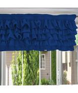Chiffon ROYAL BLUE Ruffle Layered Window Valance any size  - $29.99+