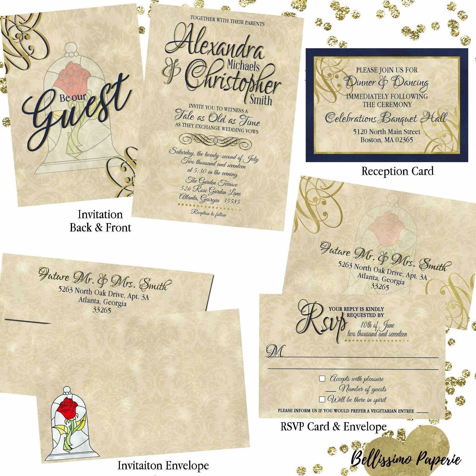Beauty and the beast wedding invitation set and 50 similar items beauty and the beast wedding invitation set custom rsvp envelope personalized stopboris Gallery