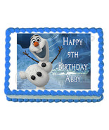 FROZEN OLAF Dancing party edible cake topper -frosting sheet- personaliz... - $8.89