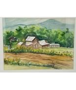 "Springtime Barn Fields Trees Mountains Scene Watercolor Signed Haar 21"" ... - $49.49"