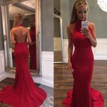 Chariming Prom Dress, Red Halter Open Back  Red Prom Dress, Woman Dresses - $165.00
