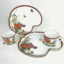 Vintage Hakusan Porcelain China Snack Set 4 Plates & 2 Cups Birds Flower... - $49.45