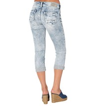 WOMENS SILVER JEANS CAPRIS Mid Rise Light Ripped Suki Cropped Stretch Je... - $59.97