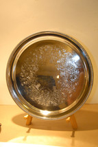 """Wm Rogers Silver Plate 12"""" Round Serving Tray 4271 Ribbed Trim Good Vintage - $29.99"""