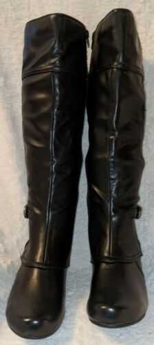 YUU Cathry Synthetic Black Knee High Boots With Cuban Style Heel