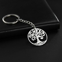 Pendant Keychain Tree of Life Round Shape Stainless Steel Gift Fashion J... - $5.89