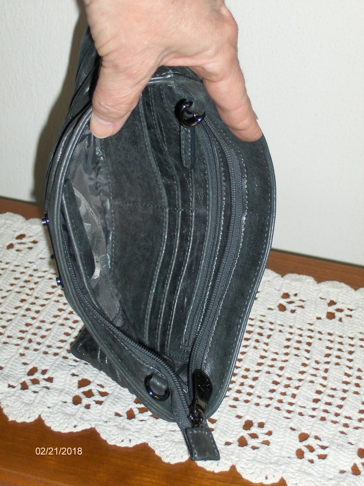 Michael Kors Gray Leather Webster Wristlet Clutch Bag Purse Wallet NO STRAP