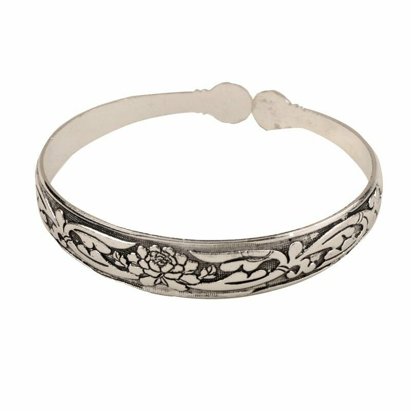 Primary image for Flower Pattern Bangle Bracelet Tibetan Silver NEW