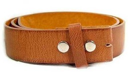 "WN333 - 1.5"" WIDE TAN SOFT SPLIT LEATHER BELT STRAP WITH SNAP CLOSURES - $10.00"