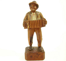 Old Man Playing Accordion Musician Carved Wood Figure Figurine Statue Vi... - $15.79