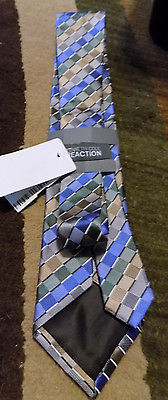 KENNETH COLE REACTION 100% MENS BLUE SILVER NECK TIE NEW