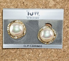 Vintage TJW Ladies Earrings Faux Pearl Crystal Jewelry Clip Ons  - $15.23