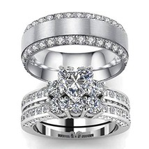 LOVERSRING 3pc His and Hers Couple Ring Bridal Set His Hers Women White ... - $34.73