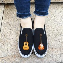 Wenfire Custom Design Musical Instrument Guitar Slip On Shoes Unisex Sne... - $45.00