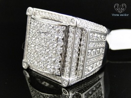 Men's Pinky Band Wedding Ring Round Cut Diamond 14k White Gold Plated 925 Silver - £144.26 GBP
