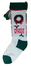 "Merry Christmas Stocking 21"" Green White Knit Xmas Holiday Mantle Decor ... - $11.75"