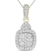 14k Yellow Gold Womens Princess Round Diamond Square Cluster Pendant - $539.00