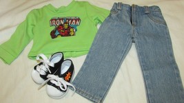 """18"""" doll clothes hand made outfit shoes Iron Man green shirt sweatshirt ... - $12.86"""