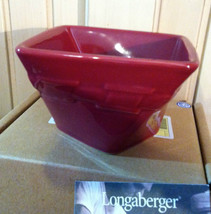 Longaberger Woven Traditions Pottery Small Twisted Dish Bowl in PAPRIKA-... - $18.09