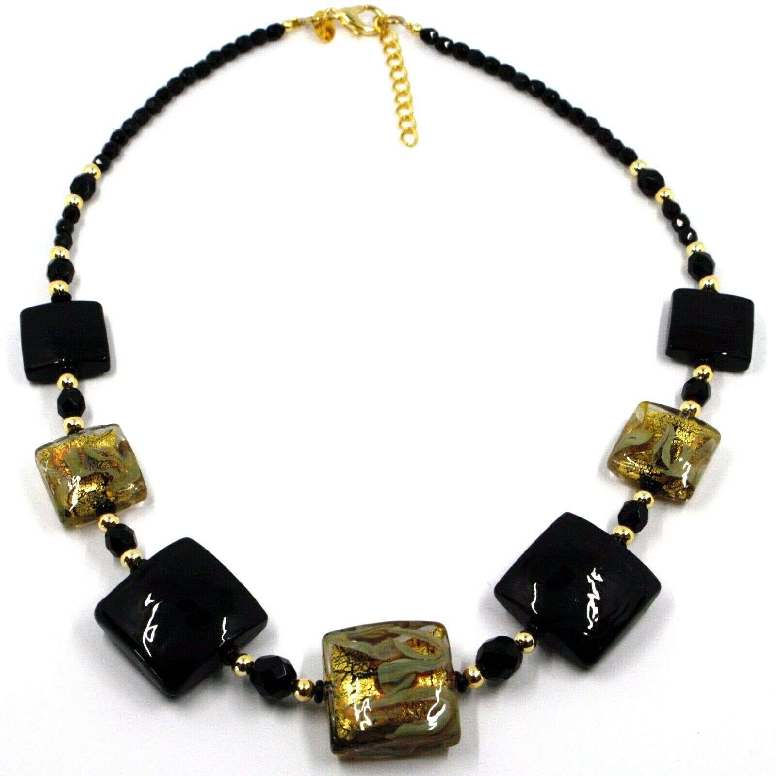 """NECKLACE WITH BLACK MURANO SQUARE GLASS & GOLD LEAF, MADE IN ITALY, 50cm, 20"""""""