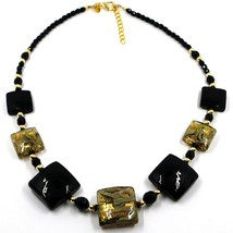 """NECKLACE WITH BLACK MURANO SQUARE GLASS & GOLD LEAF, MADE IN ITALY, 50cm, 20"""" image 1"""