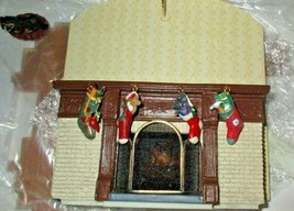 Hallmark 2002 Family Room in box unused Christmas Display Fireplace rare painted - $52.46
