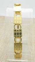 Gold Tone Square Diamond Harlequin Chain Link Bracelet Vintage - $13.86