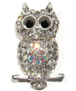 Owl Pin Brooch Clear Aurora Borealis Crystal Perched On A Branch Bird Je... - $24.99