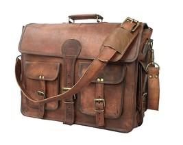 Mid brown real leather shoulder/satchel messenger bag - $55.49+
