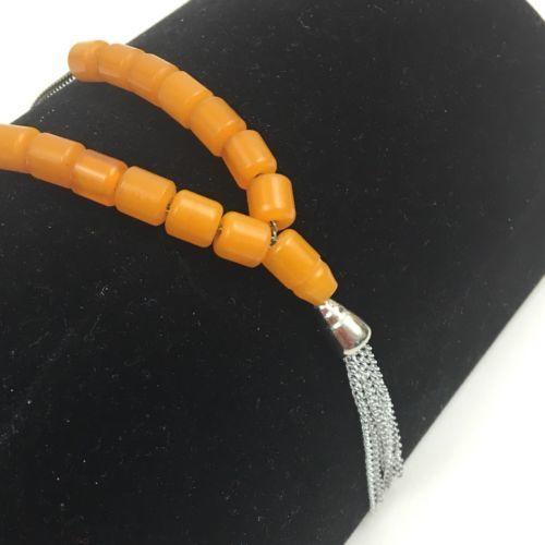 Orange Bakelite Prayer Worry Beads Vintage Beaded