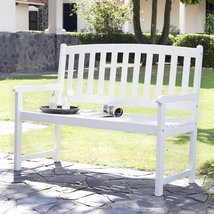 5-Ft Wood Garden Bench with Curved Slat Back and Armrests in White - $330.19