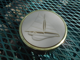 Party Lite Glass Container with Polished Brass Sail Boat Moffit on Lid -... - $9.99