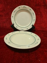 "Longaberger Woven Traditions Heritage Green Set of 2 Bread Plates 7 1/4"" - $19.79"