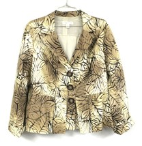 COLDWATER CREEK Jacket  XL-16 Batik Brown leaf Pattern 100% Cotton Peplu... - $34.50