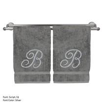 Monogrammed Washcloth Towel,13x13 Inches - Set of 2 - Silver Script - B - $27.44