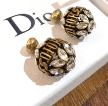 NEW AUTH Christian Dior 2019 DIO(R)EVOLUTION CRYSTAL TRIBALES EARRINGS AGED GOLD image 2