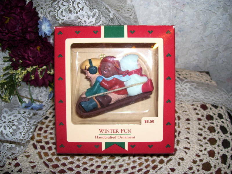 Primary image for HALLMARK ORNAMENT WINTER FUN 1988 MIB SLED RIDING