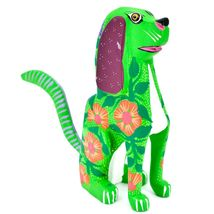 "Handmade Alebrijes Oaxacan Copal Wood Carving Folk Art Hound Dog Puppy 5"" Figure image 5"