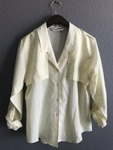 Vtg Diane Von Furstenberg Blouse Button Down 6 Women Yellow Pastel Shirt... - £30.58 GBP