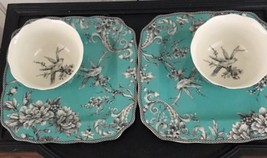 4 Pc 222 FIFTH AVENUE ADELAIDE Turquoise Dinner Plate  Bowls - $49.49