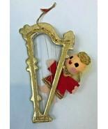 Vintage Christmas Ornament Angel Harp Gold Red Felt Foil Ribbon Delta Ja... - $24.74