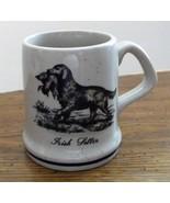 Ceramic Irish Setter with Duck Coffee Mug Cup Light Tan Blue Stripe & Sp... - $12.86
