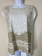 Chico's Womens Size 0 Beige Geometric Pattern Blouse Cap Sleeve Flawed - $10.93