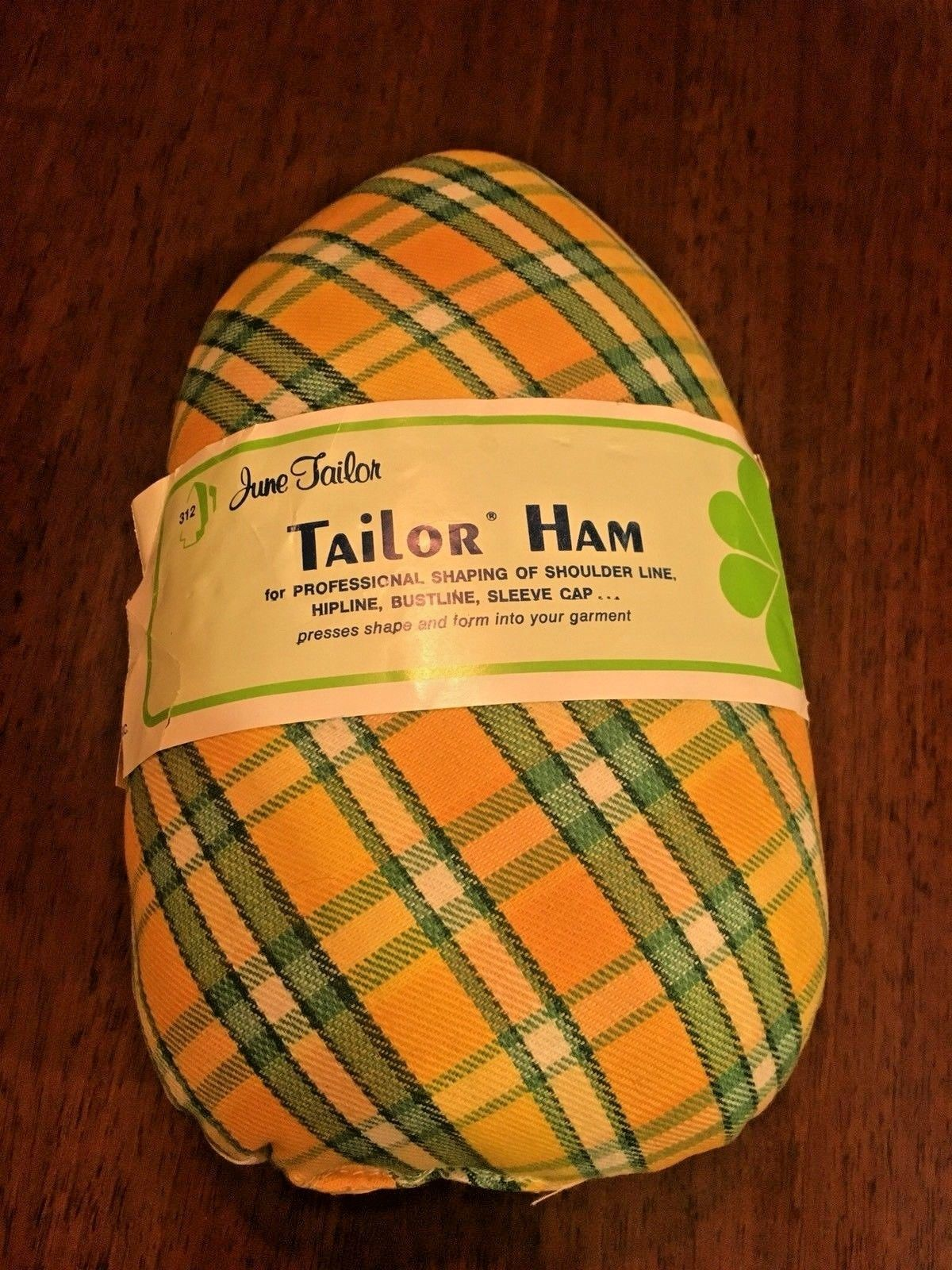 DRESSMAKER'S HAM June Tailor Pressing Sewing Tailor Yellow Green Plaid NEW
