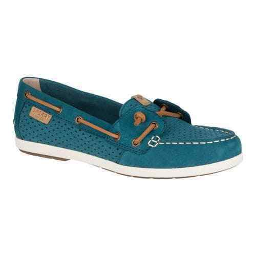 Women's Sperry Top-Sider Coil Ivy Dark Teal Scale Perf Leather Slip On Boat Shoe