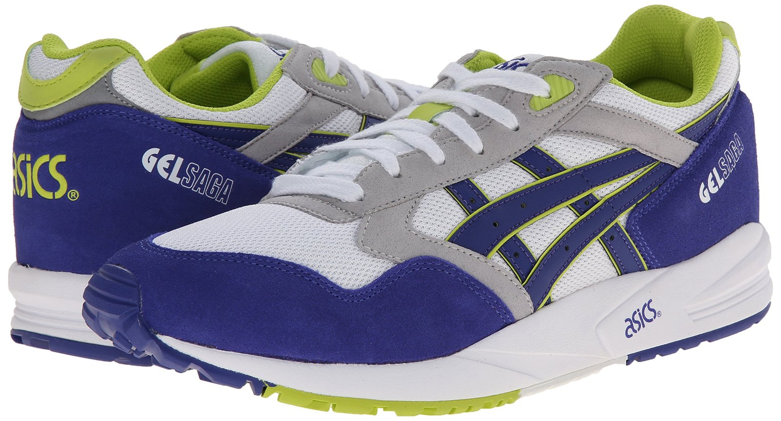 ASICS Gel-saga Retro Running Shoe, White/Dark Blue, 5.5 M US