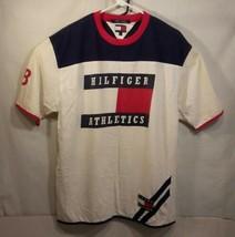 Vintage Tommy Hilfiger Big Logo Flag Athletics Division 88 T-Shirt Mens Sz L - $28.01
