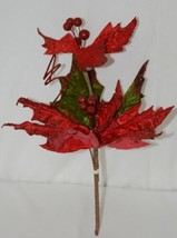 Unbranded Red Curly Qs Holly Berries Holiday Decoration Poinsettia image 1