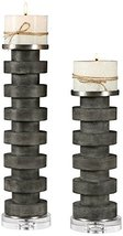 Uttermost Karun Charcoal Concrete 2-Piece Pillar Candle Holder Set - $237.60