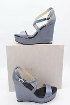 NIB Jimmy Choo Portia Metallic Denim Blue Platform Wedge Sandals 11 41 $525 New - $295.00